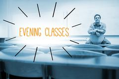 Stock Illustration of Evening classes against lecturer sitting in lecture hall