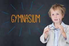 Gymnasium against schoolboy and blackboard Stock Illustration