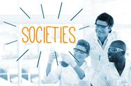 Stock Illustration of Societies against scientists working in laboratory