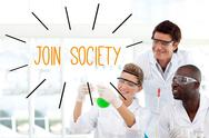 Stock Illustration of Join society against scientists working in laboratory
