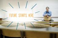 Stock Illustration of Future starts here against lecturer sitting in lecture hall