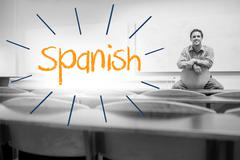 Stock Illustration of Spanish against lecturer sitting in lecture hall