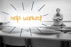 Help wanted against lecturer sitting in lecture hall - stock illustration