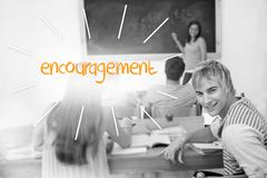 Encouragement against students in a classroom - stock illustration