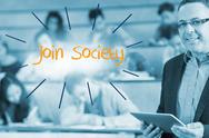Stock Illustration of Join society against lecturer standing in front of his class in lecture hall