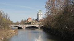 Long shot of the famous art nouveau public bath at the Isar river in Munich Stock Footage