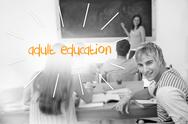 Stock Illustration of Adult education against students in a classroom