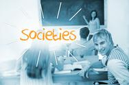 Stock Illustration of Societies against students in a classroom