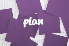 Stock Illustration of Plan against purple paper strewn over notepad