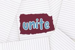 Unite against lined paper strewn over surface Stock Illustration