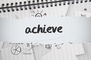 Stock Illustration of Achieve against brainstorm doodles on notepad paper