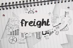 Freight against brainstorm doodles on notepad paper - stock illustration