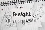 Freight against brainstorm doodles on notepad paper Stock Illustration