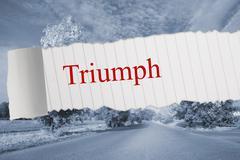Triumph against warped road - stock illustration