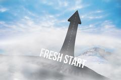Fresh start against road turning into arrow - stock illustration
