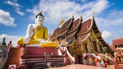 Wat Rajamontean Beautiful Temple of Chiang Mai, Thailand (4K Time Lapse) Stock Footage