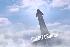 Credit crunch against road turning into arrow Stock Illustration
