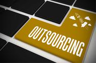 Stock Illustration of Outsourcing on black keyboard with yellow key
