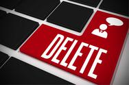 Stock Illustration of Delete on black keyboard with red key
