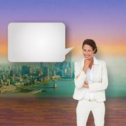 Composite image of thinking businesswoman with speech bubble Stock Illustration
