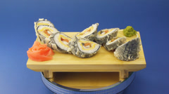Sushi rolls tempura Stock Footage