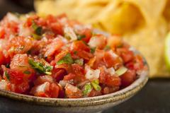 homemade pico de gallo salsa and chips - stock photo