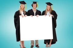 Stock Illustration of Composite image of college graduates showing card