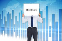 Businessman holding card saying presence - stock illustration