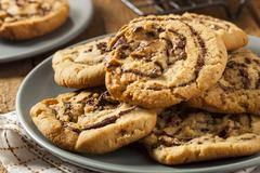 chocolate chip peanut butter pinwheel cookie - stock photo