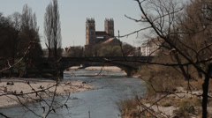 Isar river Munich Bavaria St Maximilian old town Stock Footage