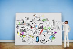 Composite image of thinking businesswoman - stock illustration