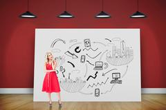 Stock Illustration of Composite image of thoughtful blonde wearing red dress