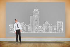 Composite image of businessman looking up - stock illustration