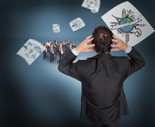 Composite image of stressed businessman with hands on head with tiny businessmen Stock Illustration
