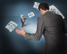 Composite image of businessman posing with hands out with tiny businessman Stock Illustration