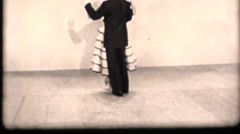 Vintage 16mm dancing instruction, spinner gown Stock Footage