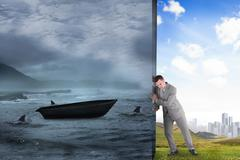 Stock Illustration of Composite image of businessman pushing away scene