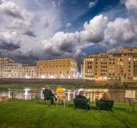 bulidings of florence along arno river, italy - stock photo