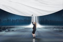 Composite image of businesswoman pulling a white screen Stock Illustration