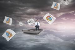 Composite image of sad tradesman showing his empty pockets in a sailboat Stock Illustration