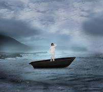 Composite image of thinking businesswoman in a sailboat - stock illustration