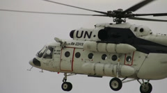 United Nations Mil MI8 landing sound Stock Footage