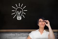 Composite image of thoughtful businesswoman Stock Illustration