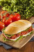 homemade italian sub sandwich - stock photo
