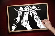 Stock Illustration of Composite image of hand drawing helping hands with chalk