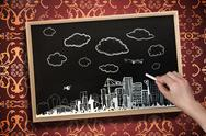 Stock Illustration of Composite image of hand drawing cityscape with chalk