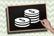 Stock Illustration of Composite image of hand drawing coins with chalk