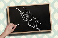Stock Illustration of Composite image of hand drawing handshake with chalk