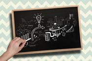 Stock Illustration of Composite image of hand drawing brainstorm with chalk