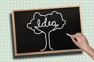 Stock Illustration of Composite image of hand drawing idea tree with chalk